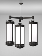 Savannah Series 3-Arm Cluster Pendant Church Light Fixture